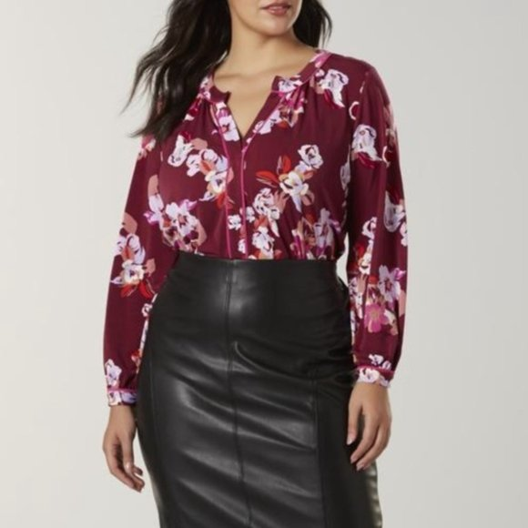 Simply Emma Tops - Simply Emma 3X NWT floral blouse pink maroon